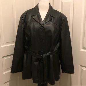 OUTBROOK Belted Black Leather Trench Coat